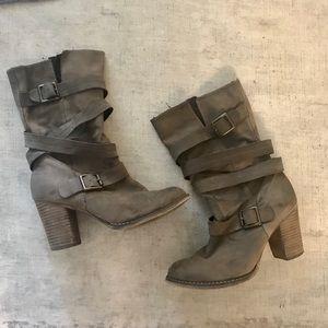 Aldo tan leather mid-calf booties